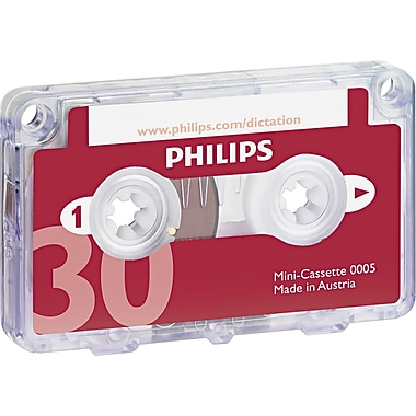 Philips® Dictation Mini Cassette, 30 min (15 x 2), 10/Pack