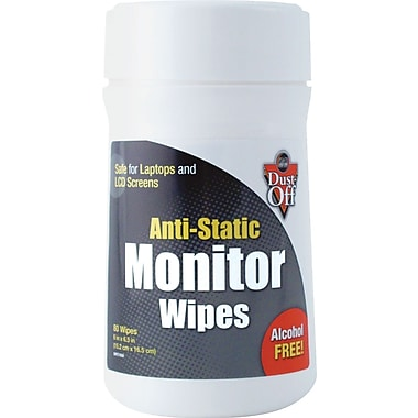 Dust-Off ® Premoistened Monitor Wipe, Unscented, 6in.(W) x 6in.(L)