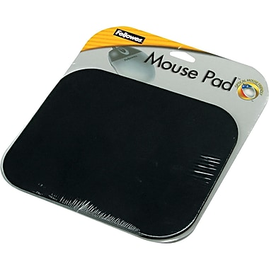 Fellowes® Polyester Mouse Pad, Nonskid Rubber Base, Black, 8