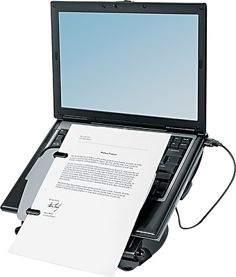 Fellowes Professional Series Laptop Riser With USB Hub, Black\/Gray, 3 (H) x 12 1\/8 (W) x 13 3\/8 (D)