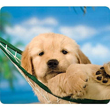 Fellowes® Recycled Mouse Pad, Nonskid Rubber Base, Puppy in Hammock, 7 1/2in.(D)