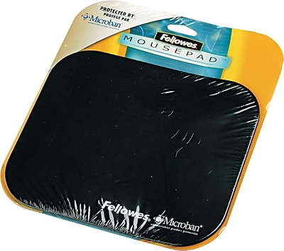 Fellowes Polyester Mouse Pad Nonskid Rubber Base Solid Color Black 8 D