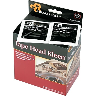 Read Right ® Tape Head Kleen Pad , 5in.(W) x 5in.(L), 80/Box