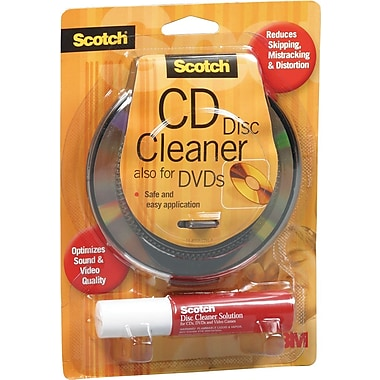 3M Scotch ® CD/DVD Disc Cleaner Kit, Includes Wipes And Spray Bottle Solution