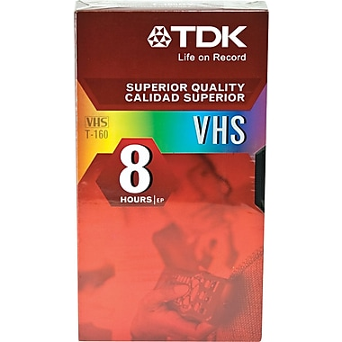 TDK Standard Grade VHS Video Tape Cassette, 8 hr