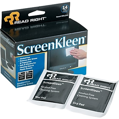 Read Right® Alcohol-Free ScreenKleen™ Wipe, Unscented, 5in.(W) x 5in.(L), 14 Twin Packs/Box