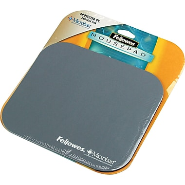 Fellowes  Polyester Mouse Pad, Nonskid Rubber Base, Graphite, 8in.(D)