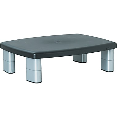 3M Adjustable Height Monitor Stand, Black/Silver, 5 7/8in.(H) x 15in.(W) x 12in.(D), 80 lbs.