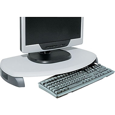 Kantek CRT/LCD Stand With Keyboard Storage, Gray, 3in.(H) x 23in.(W) x 13 1/4in.(D), 80 lbs.