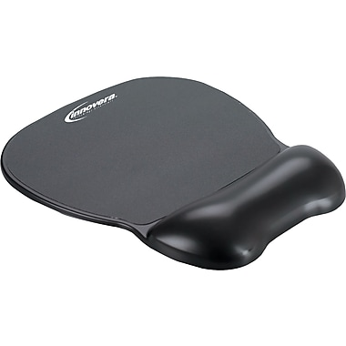 Innovera® Gel Softskin Mouse Pad With Wrist Rest, Black, 9 5/8in.(D)