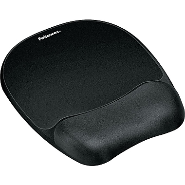 Fellowes® Memory Foam Mouse Pad With Wrist Rest, Black, 9 1/4in.(D)