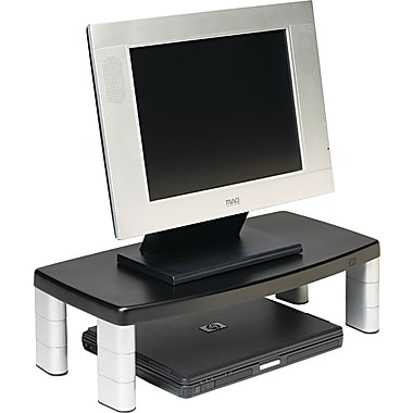 3M Extra-Wide Adjustable Monitor Stand, Black, 5 7 / 8in.(H) x 20in.(W) x 12in.(D), 40 lbs.