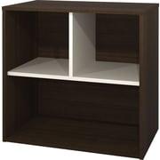 Bestar Contempo Open Base Storage Cabinet, Tuxedo-Grey and Sandstone
