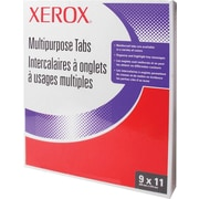 "Xerox Straight Collated Copier Tabs, 5 Tabs, White, 9"" x 11"", 250/Pk"