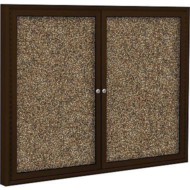 Best-Rite Enclosed Rubber Tak Bulletin Board, Coffee Finish Frame, 4' x 3'