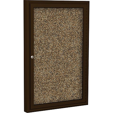 Best-Rite  Enclosed Rubber Tak Bulletin Board with Aluminum Frame, Coffee Finish, 3' x 2'