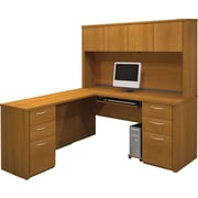 Bestar Embassy Collection L-Shaped Desk & Hutch With Two Pedestals Desk, Cappuccino Cherry