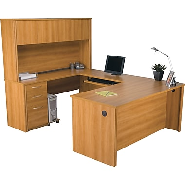 Bestar Embassy Collection U-Shaped Desk & Hutch With One Pedestal, Cappuccino Cherry