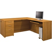 Bestar Embassy Collection L-Shaped Desk Kit With One Pedestal, Cappuccino Cherry