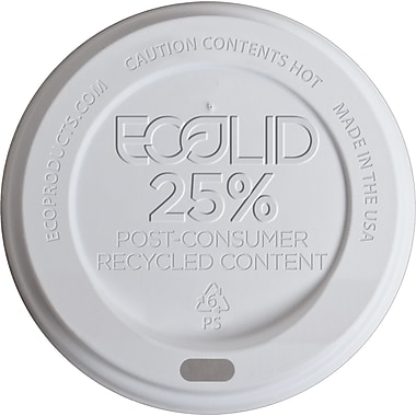 Eco-Products® 25% Recycled Content Hot Cup Lid for 10 - 20 oz. Hot Cups, White, 1000/Carton