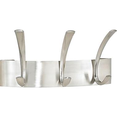 Safco® 3-Hook Metal Coat Rack, Brushed Nickel