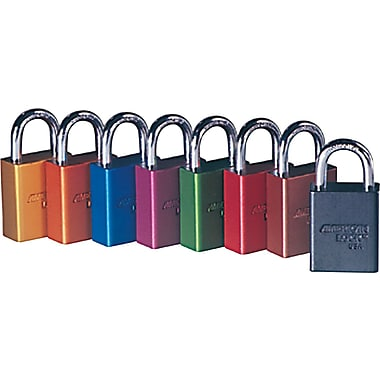 American Lock® Safety Rectangular Padlocks, 5 Pin, Aluminum, Red, Keyed Different