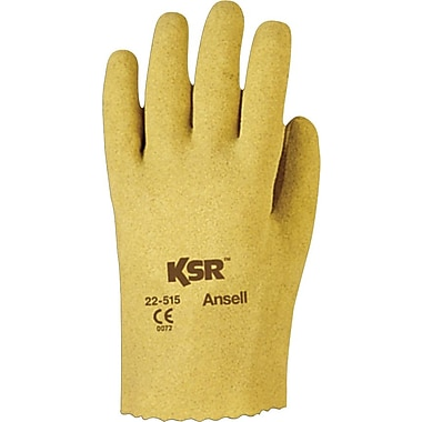 Ansell® KSR® Coated Gloves, Vinyl, Slip-On Cuff, Medium Size, 12 Pairs