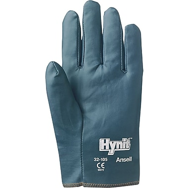 Ansell® Hynit® Coated Gloves, Nitrile-Impregnated Fabric, Slip-On Cuff, Medium Size, Blue, 12 Pairs