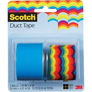 Scotch® Brand Duct Tape, Roy-G-Biv/ Sea Blue, 2/Pack, 1.42