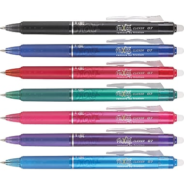 Pilot FriXion Clicker Erasable Gel Pens, Fine Point, Assorted Colors, 7/Pack