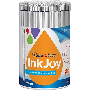 PaperMate® InkJoy® 700 Ballpoint Retractable Pens, Medium Point, White Barrel/Assorted Inks, 36/Pack