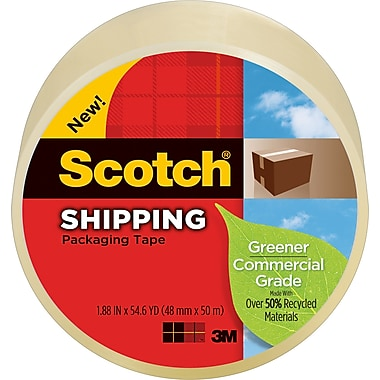Scotch® Greener Commercial-Grade Shipping Tape, 1.88in. x 49.6 Yards