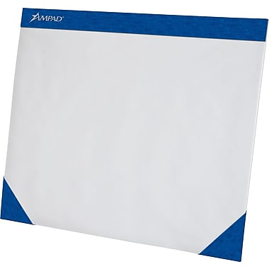 Ampad® Paper Desk Pad, Blue Edge, 75 Sheets/Pad, 17