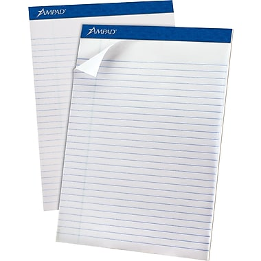 Ampad® Recycled Notepad, Wide Ruled, White,  8-1/2in. x 11-3/4in., 12/PK
