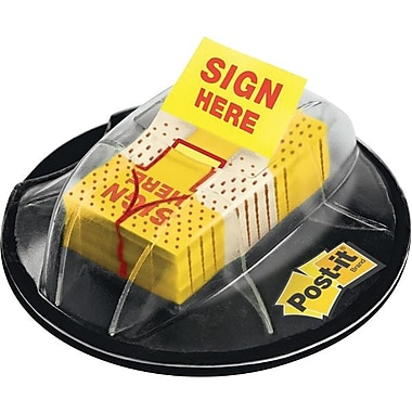 Post-it® 1in. Yellow in.Sign Herein. Flags with Desk Grip Dispenser, 200 Flags/Pack