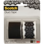 Scotch® Brand Duct Tape, Lace Vegas/ Jet Black, 2/Pack , 1.42 x 5 Yards