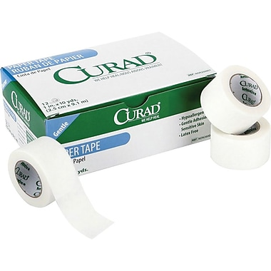 Curad® Hypoallergenic Paper Adhesive Tapes with Dispensers, 10 yds L x 2in. W, 72/Case