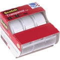 Scotch® Transparent Tape, 3/4in. x 300in., with Dispenser, 1in. Core, 3/Pack