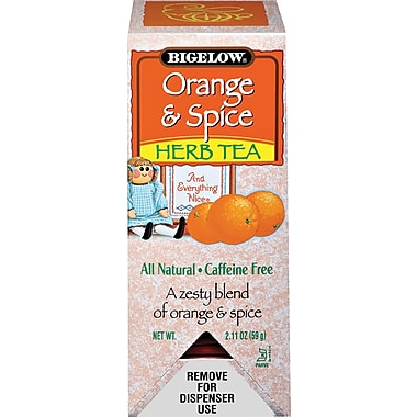 Bigelow® Orange & Spice Herb Tea, Decaffeinated, 28 Tea Bags/Box