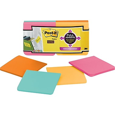 Post-it® Super Sticky Full Adhesive, 3in. x 3in. Farmers Market Notes, 12 Pads/Pack