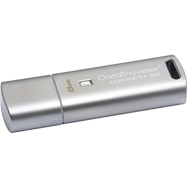 Kingston DataTraveler Locker+ G2 8GB USB 2.0 USB Flash Drive (Silver)