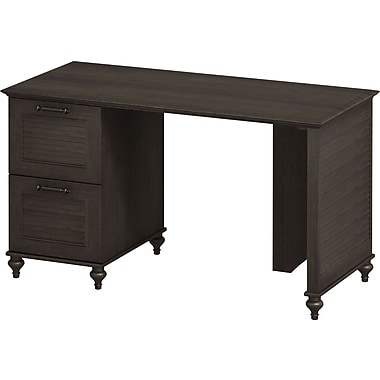 kathy ireland Volcano Dusk by Bush Furniture Desk with Double File Drawers, Espresso