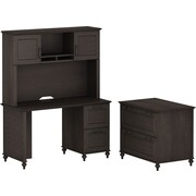 kathy ireland Volcano Dusk by Bush Furniture Small Office Suite with Desk and File Drawers, Espresso