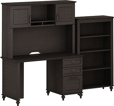 kathy ireland Volcano Dusk by Bush Furniture Small Office with Desk, Hutch, and Bookcase, Espresso 956042