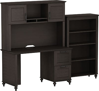 kathy ireland Volcano Dusk by Bush Furniture Desk with Hutch and Bookcase, Espresso 956040