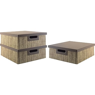 kathy ireland by Bush Media Bin, Grass Weave, 3/pack