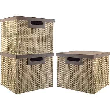 kathy ireland by Bush Large Bin/File, Grass Weave, 3/pack