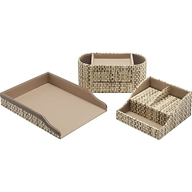 kathy ireland by Bush Desktop Organizer, Grass Weave, 3/pack