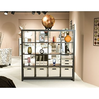 kathy ireland® Office by Bush Furniture New York Skyline 16 Cube Room Divider, Modern Mocha (KI10103-03K)