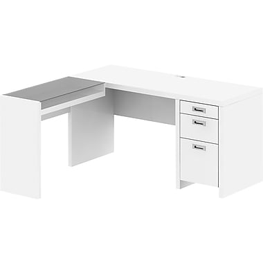 kathy ireland New York Skyline by Bush Furniture 60W L Shaped Desk with Glass Return, Plumeria White
